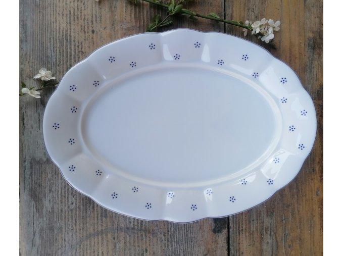 Babiččin porcelán - TEČKOKVÍTKY - tlustostěnný podnos ovál - 36 cm