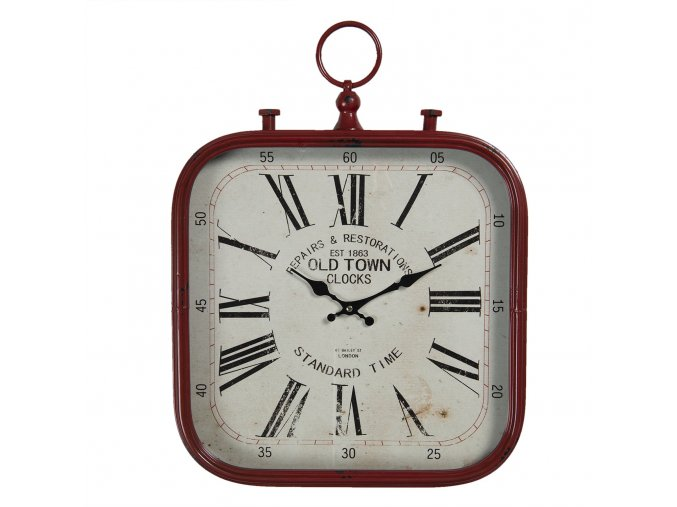 vintage nastenne hodiny v cervenem ramu old town 40353 cm 1aa