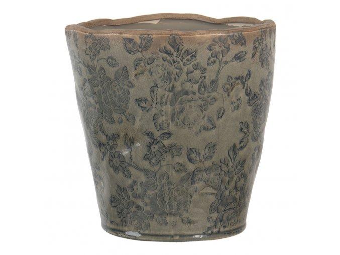 hnedo sedy kvetinac s patinou a popraskanim o 1717 cm