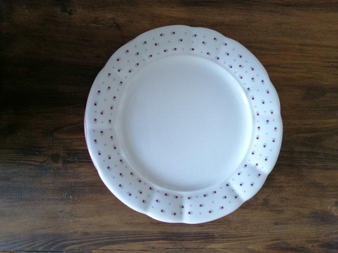 Babiččin porcelán - růžokvítky - tlustostěnný mělký talíř - 26 cm
