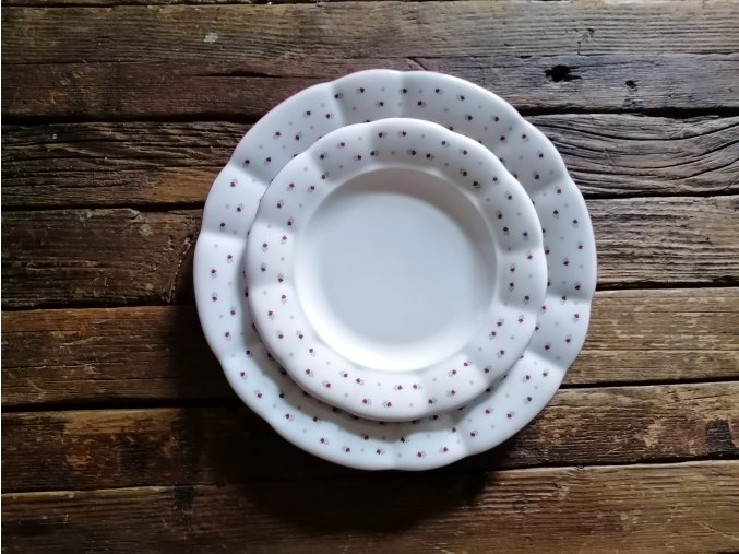 ...Babiččin porcelán - růžokvítky -SADA TALÍŘŮ - 18 KS