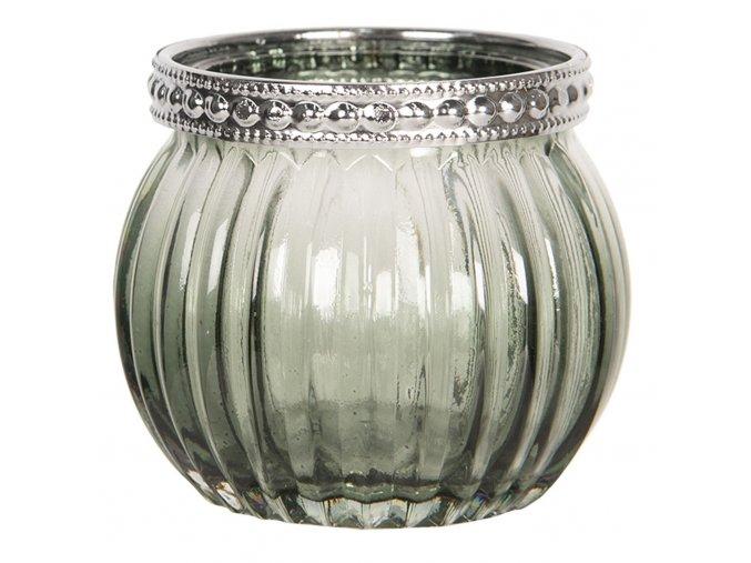 skleneny sedy svicen na cajovou svicku s kovovym zdobenim o 66 cm