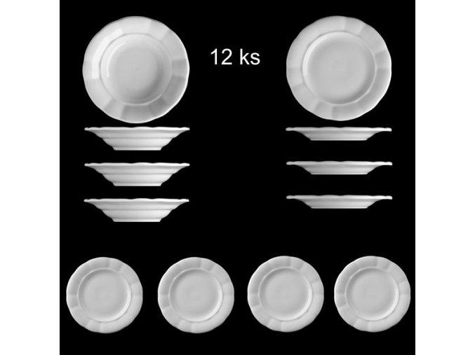 Sada venkovských tlustostěnných talířů - 12 ks