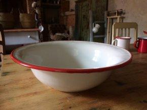VENKOV - smaltovaná mísa - umyvadlo, bílo/červená, 32 cm