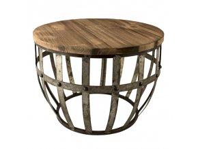 odkládací stůl kulatý sud kov a dřevo
