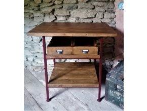 Industriální  odkládací stolek stůl se šuplíky