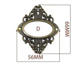 Kovový štítek -ozdobný -56 x 66 mm
