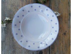 Babiččin porcelán - TEČKOKVÍTKY - tlustostěnný hluboký talíř - 24 cm