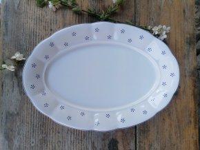 Babiččin porcelán - TEČKOKVÍTKY - tlustostěnný podnos ovál - 32 cm