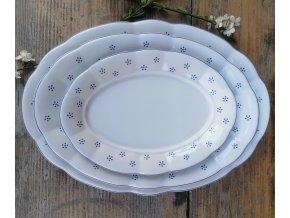Babiččin porcelán - TEČKOKVÍTKY - sada oválných podnosů - 3 velikosti