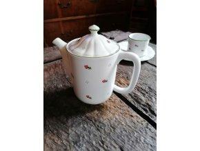 Babiččin porcelán - červené kvítky -- konvice s víčkem - 1,15 l