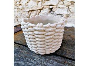 bezovy cementovy kvetinac imitace lana m o 21175 cm