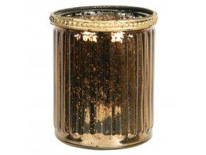 zlato hnedy skleneny svicen s kovovym zdobenim o 89 cm