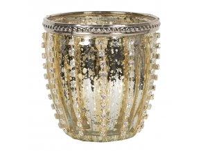 zlaty skleneny svicen na cajovou svicku sinjon o 99 cm