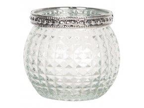 skleneny transparentni svicen na cajovou svicku s kovovym zdobenim o 66 cm