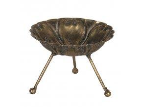 zlaty antik kovovy svicen na nozickach 10118 cm