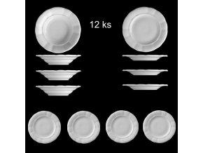 ...VENKOVSKÁ KLASIKA - Sada venkovských tlustostěnných talířů - 12 ks