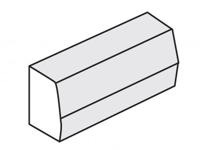 Obrubník silniční šedý (průměr 100x15x25/15 cm přechodový L+P)