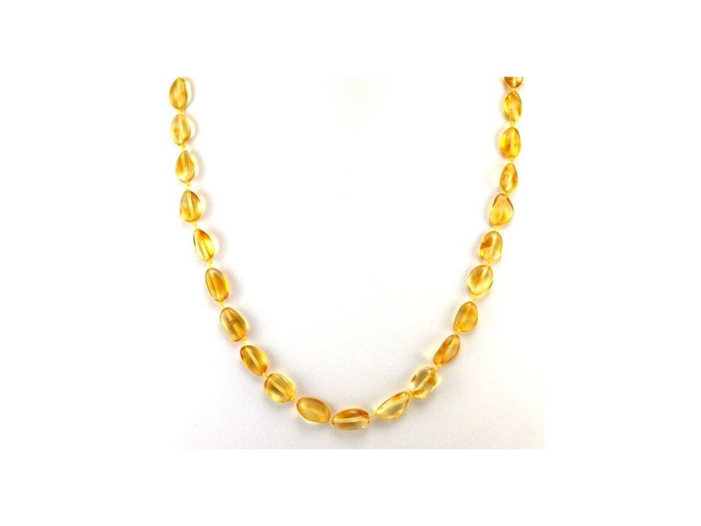 Jantarový náhrdelník Transparent oválné korále - Zandup 6dd037b718b