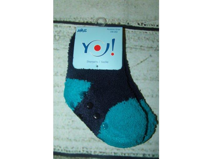 Ponožky YO! froté protiskluzové modroazurové vel. 19/20