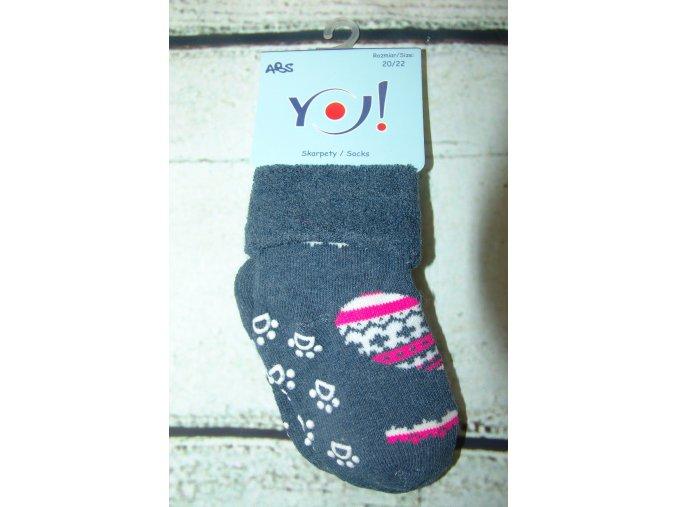 Ponožky YO! froté protiskluzové modré se srdíčkem vel. 23/25