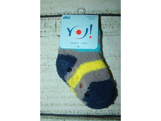 Ponožky YO! froté protiskluzové modrošedožluté vel. 23/25