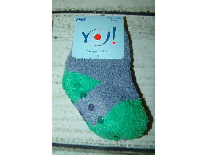 Ponožky YO! froté protiskluzové šedozelené vel. 23/25