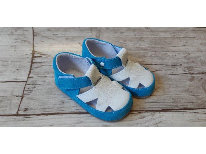 Bosé sandálky pegres bílá, modrý velur vykrajované