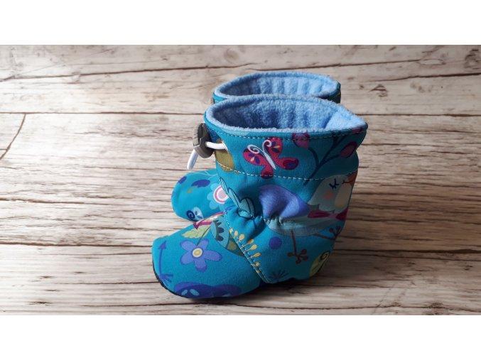 Softshellové capáčky s fleecem - Květiny na modré (vel. 11cm)