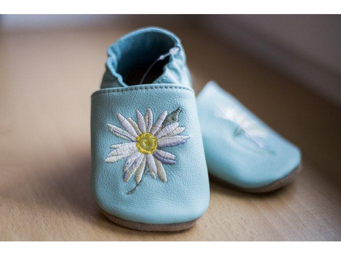baBice barefoot capáčky - EM-040/ mint s květinou