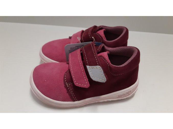 Celoroční barefoot obuv Jonap B1SV vínová růžová SLIM
