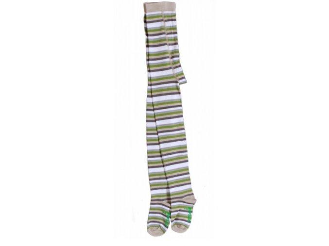 Dětské punčocháče zelený proužek