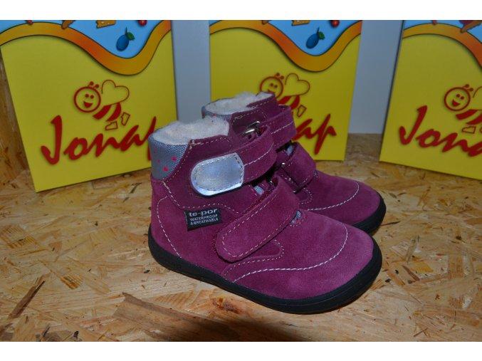 Zimní barefoot obuv Jonap B5 SV vínová puntík SLIM s membránou
