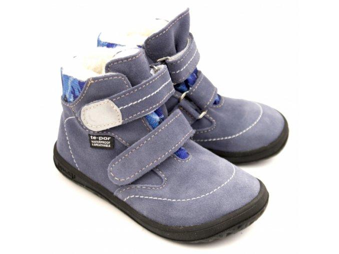 Zimní barefoot obuv Jonap B5 SV modrá maskáč s membránou