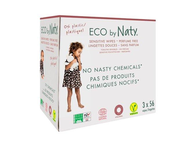 ECO vlhčené ubrousky Naty bez vůně - pro citlivou pokožku - výhodné balení (3 x 56ks)
