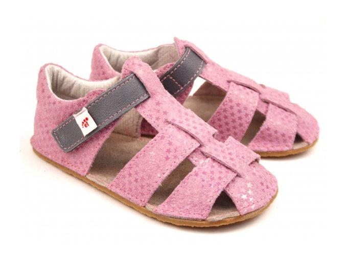Ef barefoot sandálky růžová šedá