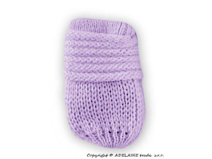kojenecké pletené lila rukavicky