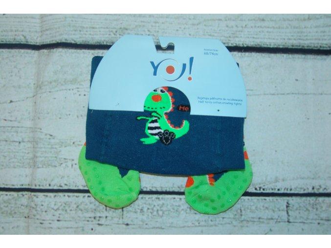YO ! Bavlněné punčocháčky ABS na chodidle i nártu - modré s dinosaurem