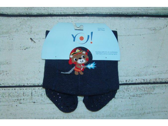 YO ! Bavlněné punčocháčky ABS na chodidle i nártu - modré s hasičem