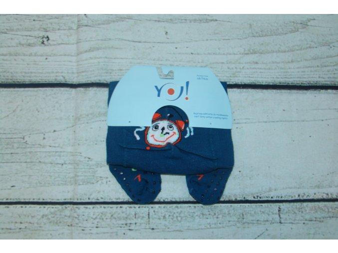 YO ! Bavlněné punčocháčky ABS na chodidle i nártu - modré s budíkem