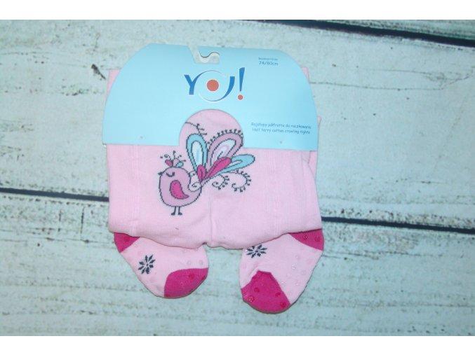 YO ! Bavlněné punčocháčky ABS na chodidle i nártu - růžové s pávem