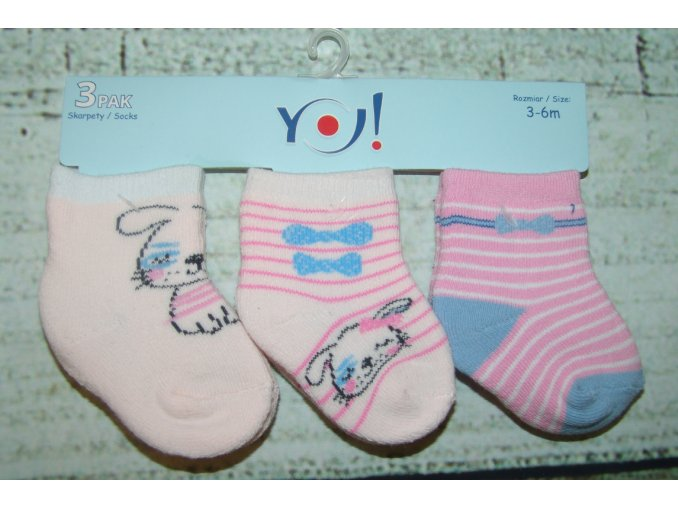 Ponožky YO! 3 páry holka bílá, růžová 3-6 měsíců