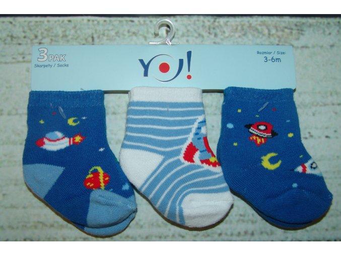 Ponožky YO! 3 páry kluk modrá vesmír 3-6 měsíců