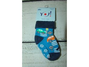 Ponožky YO! froté protiskluzové modré s auty vel. 20/22