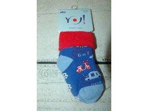 Ponožky YO! froté protiskluzové modré s auty a motorkou vel. 20/22