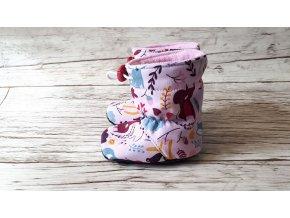Softshellové capáčky s fleecem - Lesní zvířátka na růžové (vel. 11cm)