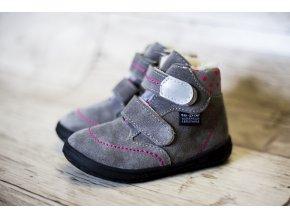 Zimní barefoot obuv Jonap B5 SV šedá puntík s membránou