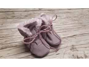 baBice barefoot capáčky - NBW-106/ zimní růžové