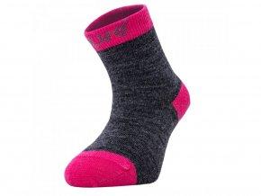 unuo merino ponožky šedý melír s fuchsiovou