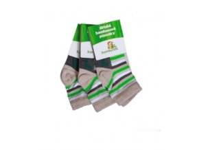 Dětské ponožky - zelený proužek (3 páry)